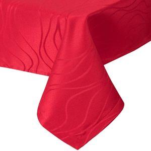 WOLTU Tischdecke Damast Streifen Wellen Design mit Saum, Tafeldecke Abwaschbar Bügelfrei, Größe wählbar, Eckig 130x160 cm Bordeaux
