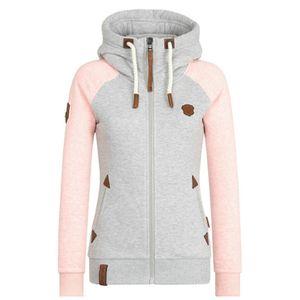 Damen Hooded Sweatshirt Zip Ladies Pullover Top,Farbe: Pink,Größe:L