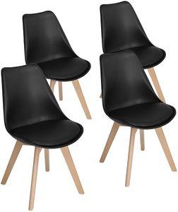 Futurefurniture.® 4er Set Esszimmerstühle mit Massivholz Buche Bein, Retro Design Gepolsterter Stuhl Küchenstuhl-Schwarz