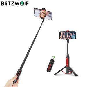 BlitzWolf Bluetooth Selfie Stick Stativ, Aluminium Wireless Monopod Selfie-Stange mit Zoomen und Schalten Funktion, Bluetooth Fernbedienung für iPhone Samsung (Unterstützt iOS13.4 und höher Nicht)