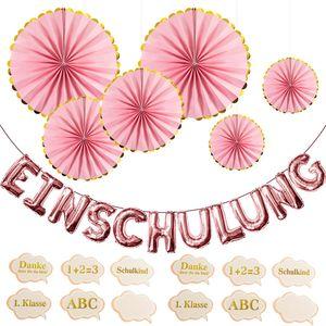 Oblique Unique Schuleinführung Schulanfang Einschulung Deko Set - Folien Luftballons + Fächer + Konfetti