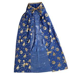 Kinder Halloween Kostüm Zauberer Hexe Umhang Robe Kürbis Stil Kap Blau Gold