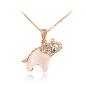 süße Damen Halskette Kette Anhänger Elefant vergoldet Zirkonia Geschenk Autiga® rosegold