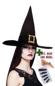 Hexenkostüm Zubehör Hut Hexe schwarz Hexen Fingernägel Hexennase Warze Größe: ohne Attribut