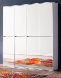 Garderobenschrank und Schuhschrank weiß mit Spiegeltüren Mehrzweckschrank 148 x 191 cm - Trendteam Mirror