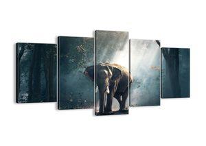 "Leinwandbild - 160x85 cm - ""Ein gemütlicher Spaziergang""- Wandbilder - Elefant Wald Dschungel - Arttor - EA160x85-3972"