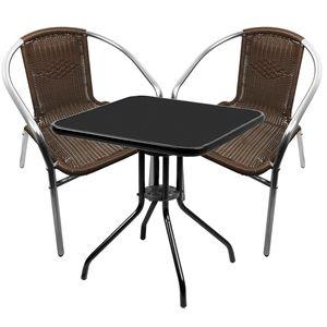 Bistro Sitzgarnitur Bistrogarnitur 3-teilig Tisch Schwarz / Stuhl Mokka