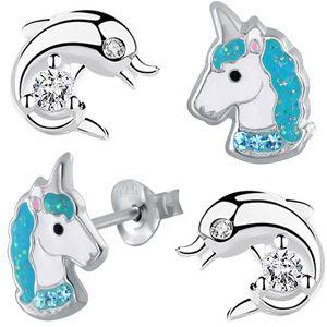 SET Kinder Ohrstecker echt 925 Sterling Silber Mädchen Ohrringe Pferde Kristall Einhorn Delphin K756+K619