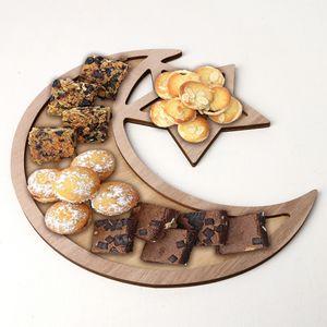 Holz Eid Mubarak Plaque Mondstern Ramadan Ornament Anhänger Dessert Dekoration