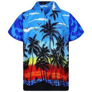 Männer Kurzarm Hawaiihemd Sommer Casual Beach Holiday Party Tops Tee,Farbe: Blau,Größe:XXL