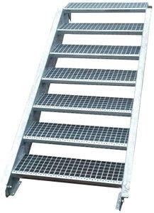 Stahltreppe verzinkt 7 Stufen Geschosshöhe 100-140cm / Stufenmaße 60 cm x 24 cm