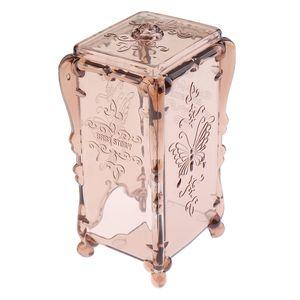 Wattepadspender Halter Make up Organizer Aufbewahrungsbox mit Deckel für Wattestäbchen Wattepad, Transparent Champagner 8x7x14,5 cm