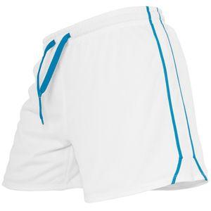 URBAN CLASSICS LADIES MESH SHORT FRAUEN KURZE JOGGINGHOSE HOTPANT, Größe:XS, Farbe:white/turquoise/white