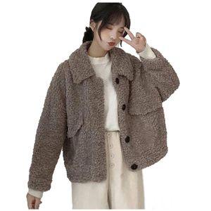Damen Wintermode Lmitation Wolle Kurz Lose Plüsch Tops Mantel Größe:L,Farbe:Taupe