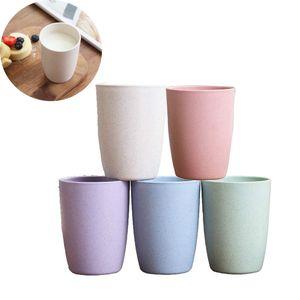 Umweltfreundlicher, gesunder Weizenstrohhalm, biologisch abbaubar, Bambus-Kunststoff-Tasse, Becher, für Wasser, Kaffee, Milch, Saft, Weizenstroh