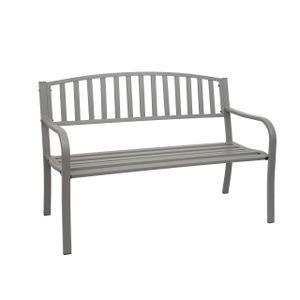 Gartenbank HWC-F43, Bank Parkbank Sitzbank, 2-Sitzer pulverbeschichteter Stahl  grau
