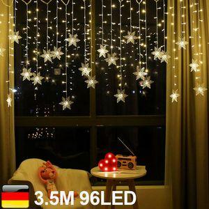 Miixia LED Schneeflocke Lichterkette Lichtvorhang Fenster Weihnachten Beleuchtung Nachbildung 3.5 Meter 96 LED Warmweiß