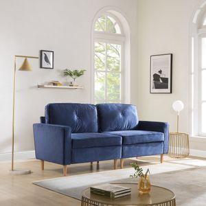194X76X90cm 3-Sitzer Sofa Couch für Wohnzimme Gemütlich Morderne Couch mit Dezenten Designelementen Federkern und Loser Rücken Apartment , Blau,Geeignet für modernes Wohnzimmer