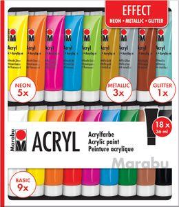 """Marabu Acrylfarben-Set """"EFFECT"""" 18 x 36 ml auf Wasserbasis"""