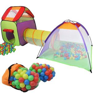 KIDUKU Spielzelt + 200 Bälle + Tunnel + Tasche Kinderzelt Bällebad Babyzelt