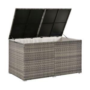 Juskys Polyrattan Auflagenbox Ikaria 950 L – Deckel mit Hubautomatik & Innenplane – Garten Kissenbox für Balkon & Terrasse – Gartenbox grau-meliert