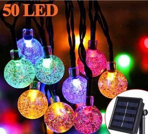 Solar Lichterkette Aussen - Zodight 9.5M Solar Lichterkette 50 LED Kristall Kugeln, 8 Modi Solarlichterkette Wasserdichte Innen/Außen für Garten, Bäume, Terrasse, Weihnachten, Party (Bunt)