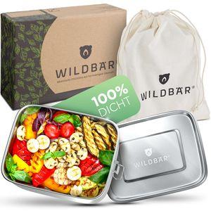 WILDBÄR® ♻️ Dichte Premium Edelstahl Brotdose 800ml - BPA-frei - als Set mit Abtrennung und natürlichem Baumwollbeutel ♻️