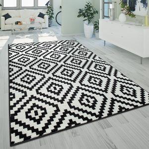 Kurzflor Teppich Schwarz Weiß Wohnzimmer Ethno-Look Design Rauten Muster, Grösse:160x220 cm
