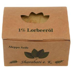 Sharabati Original Aleppo Seife 99/1, 170g - Olivenölseife mit 1% Lorbeeröl, Seife hergestellt in Aleppo - für trockene Haut