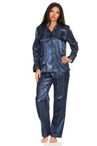 Satin Pyjama Streifendessin - innen angeraut 251 201 94 010, Größe:44/46, Farbe:marine