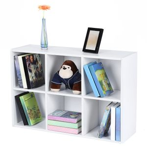 VASAGLE Bücherregal mit 6 Fächern weiß Holzregal 65,5 x 97,5 x 30 cm freistehend schmal und stabil Würfelregal Weiß LBC203D