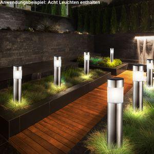8er Set LED Solarleuchten aus Edelstahl für den Außenbereich