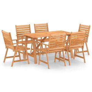 Hochwertigen Garten Sitzgruppe Gartengarnitur - 7-teiliges Outdoor-Essgarnitur Garten-Essgruppe Sitzgruppe Tisch + stuhl Massivholz Akazie ☆5450