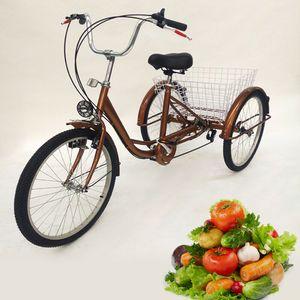Dreirad für Erwachsene 24 Zoll 6 Gang Senioren Erwachsenendreirad Fahrrader 3 Räder City Bike Shopping Fahrrad mit Korb