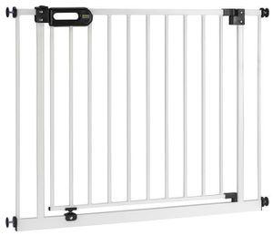 BOMI® Kindertreppen Gitter Merle XXL 115 - 123 cm | Baby Gitter weiss mit Automatik-Tür | Durchgangsbreite: 75 cm | Kindertreppenschutzgitter Tür und Treppenschutzgitter zum Klemmen