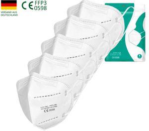 5xFFP3 Atemschutzmasken (Einzeln verpackt) CE0598 gegen , Bakterien,Mundschutz gegen Tröpfchen- und Schmierinfektionen,gegen Verschmutzung filtern 99% Bakterien universell staubdicht (FFP3)