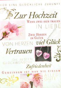 Hochzeitskarte Blumen / Herzen, mit Umschlag