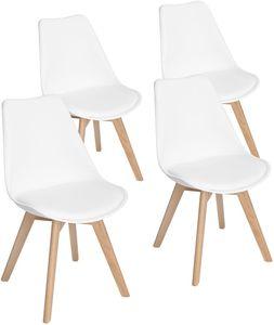 HJ 4er set Skandinavischen Retro Design Stuhl Kunststoff PP Esszimmerstühle mit Massivholz Buche Bein Weiß