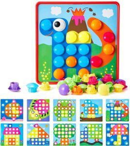 Mosaik Steckspiel für Kinder ab 2 Jahre, Steckmosaik mit 46 Steckperlen und 12 Bunten Steckplätte, Steckspielzeug Kinderspielzeug,Bunte Steckspiel Pädagogische Baustein Sets, Lernspielzeug
