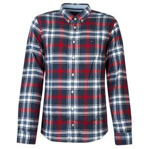 """Tommy Hilfiger Hemd """"Herringbone"""" -  MW0MW07804   Checked Herringbone - Blau -  Größe: L(EU)"""
