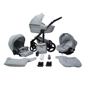 Kinderwagen Buggy Babywanne Schwenkreifen Alu Premium Comodo by Ferriley & Fitz Sand 15 3in1 mit Babyschale