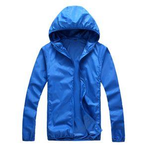 Sommer Langarm Kapuze Winddicht Sonnenschutz Mantel Angeljacke Royal Blue XL