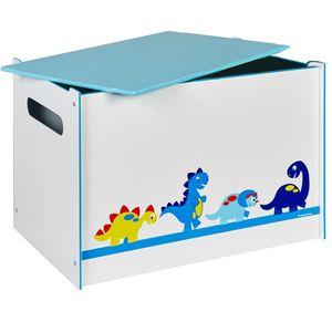 Toy Box DINO Spielzeugbox mit Griff und Deckel Holz Dinosaurier Kiste Box Aufbewahrungsbox Spielzeug