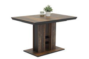 Esstisch Thea - Oldwood / schwarz - ausziehbar - Maß 120-160 x 80 x 76 cm