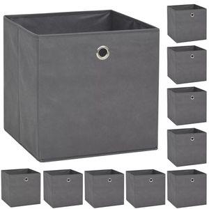 vidaXL Aufbewahrungsboxen 10 Stk. Vliesstoff 32 x 32 x 32 cm Grau