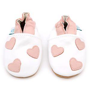 Dotty Fish Weiche Baby Lederschuhe. Weiß mit rosa Herzen. 12-18 Monate (21 EU)