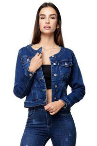 Damen Jeans Jacke Kurze Basic Frühling Übergangsjacke Weste Rundkragen, Farben:Dunkelblau, Größe:42