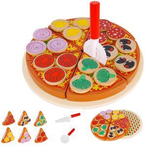 Pizza-Set Zubehör aus Holz für Kinderküche und Kaufladen Inklusive Schneidebrett und Pizzaschneider 27 Teile 9354