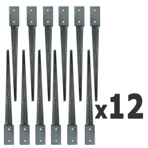 SET 12 x Bodenhülsen 81x81x750 Erdanker Verzinkt Einschlagbodenhülse Bodenanker