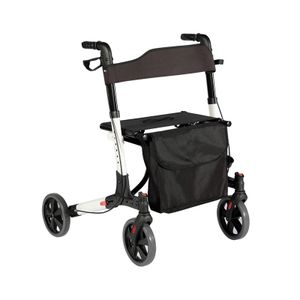Jago® Rollator - 6-fach höhenverstellbar, Sitz mit Rückenlehne, 3-fach Faltbar und Leicht, 4 Räder / Bremsen / Einkaufstasche & Stockhalter - Gehhilfe, Laufhilfe, Gehwagen, Leichtgewichtrollator